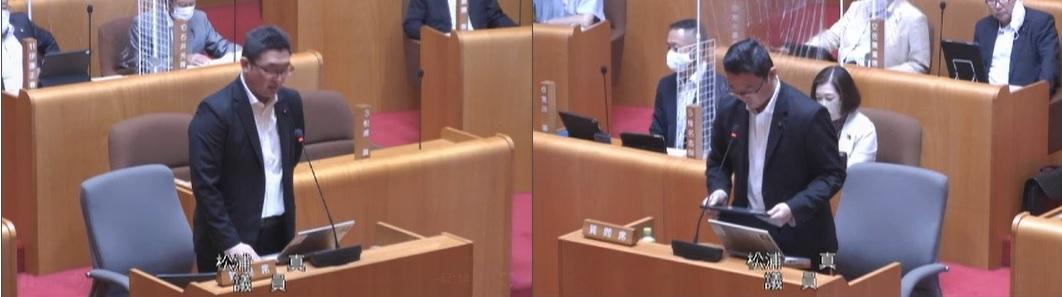 五城目町議会で質問を行う松浦氏