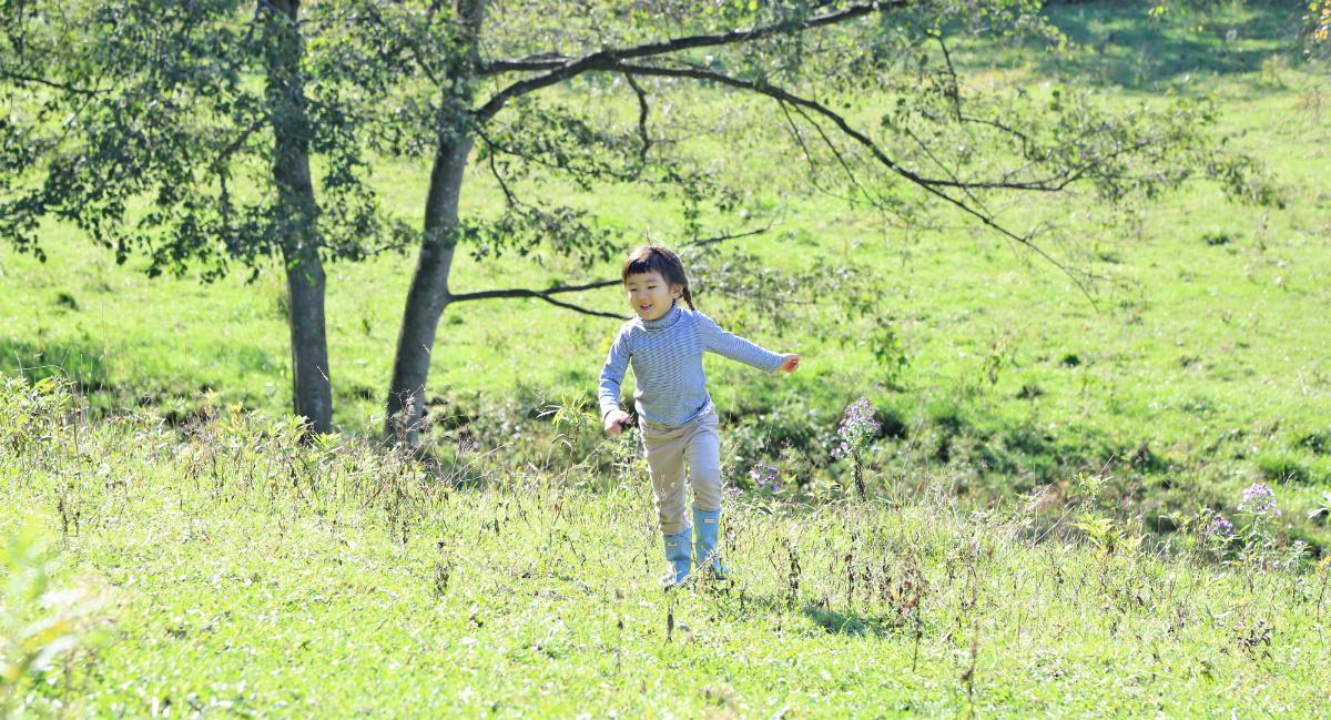 「森のようちえん」には、既成品の玩具・遊具などはなく、自然とふれあいながら子どもが自由に遊べることを大切にしている