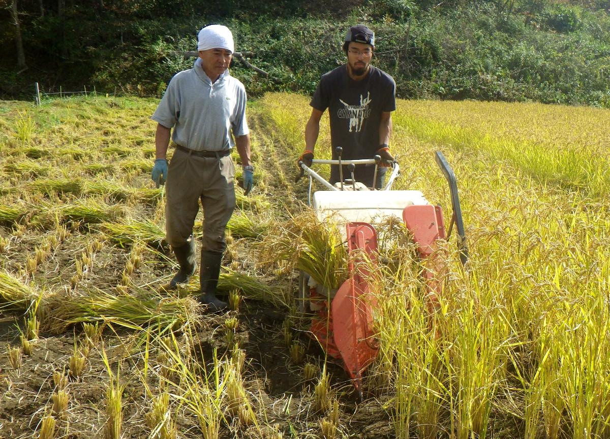 農業の大先輩から農業機械の使い方を教わっている伊勢野さん