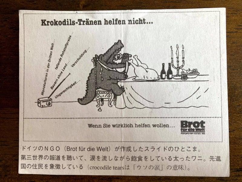 ドイツのNGOが出している古い資料から「crocodile tears(ワニの涙)」という絵